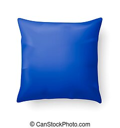 Pillow - Close Up of a Blue Pillow Isolated on White...