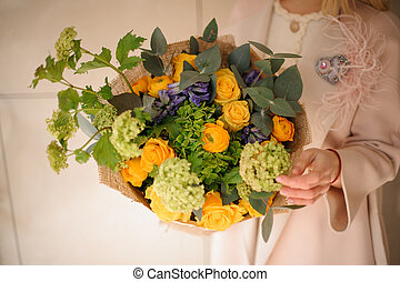 Close-up of a bouquet of various flowers