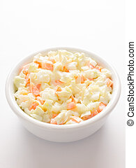 coleslaw salad - close up of a bowl of coleslaw salad
