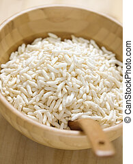 close up of a bowl of puffed rice