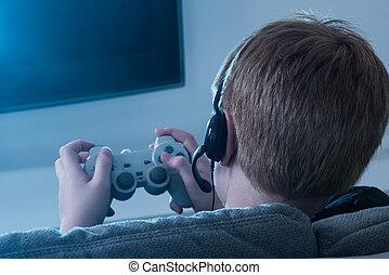 Boy Holding Joystick