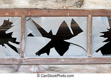 Close up of a broken window