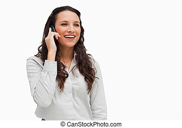 Close-up of a brunette on the phone