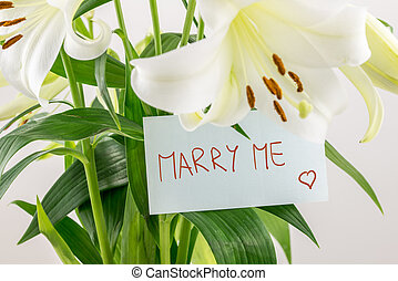 Marry me - Close up of a bunch of beautiful fresh white ...