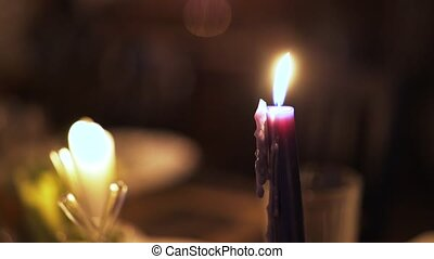 Close up of a burning candle