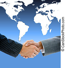 Close-up of a business people shaking hands against a white...