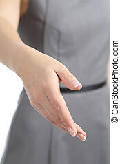 Close up of a business woman hand handshaking