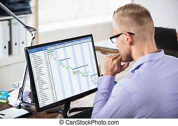 Businessman Analyzing Gantt Chart On Computer