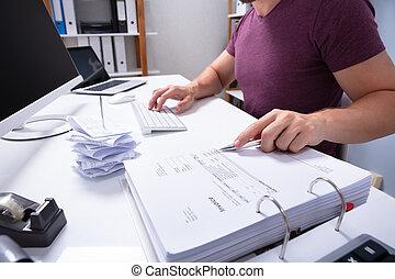 Businessman Checking Invoice