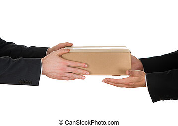 Businessman Giving Box To His Colleague