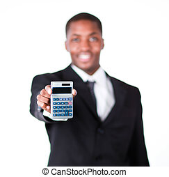 Close-up of a businessman holding a calculator