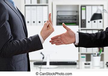 Businessman Showing Middle Finger To Partner