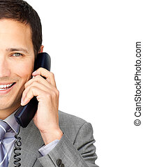 Close-up of a businessman talking on phone