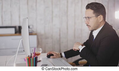 Close up of a businessman work with computer in the office