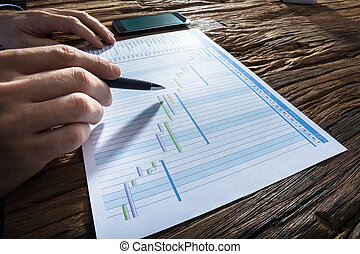 Businessperson's Hand Analyzing Gantt Chart