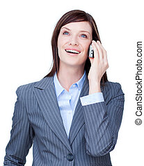 Close-up of a businesswoman on phone