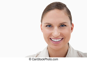 Close up of a businesswoman smiling at the camera
