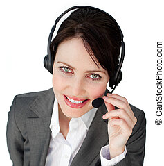 Close-up of a businesswoman talking on a headset