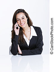 Close-up of a businesswoman talking on the mobile phone.
