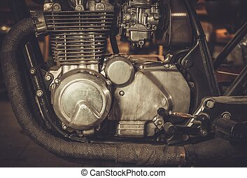 Close-up of a cafe-racer motorcycle engine