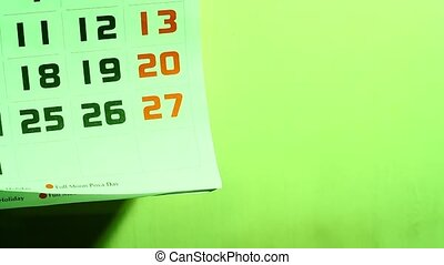 Calender  - Close up of a Calender page
