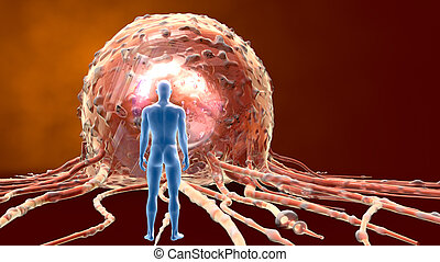 Close up of a cancer cell and a man, medically 3D illustration