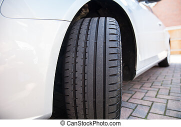 Close up of a car tyre