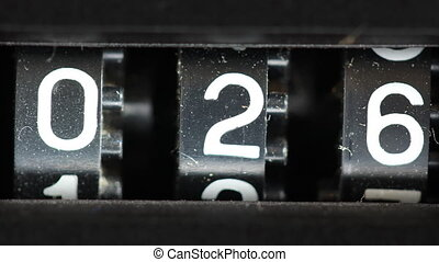 close-up of a cassette tape player number counter