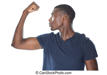 Close up of a casual young man flexing muscles over white ...
