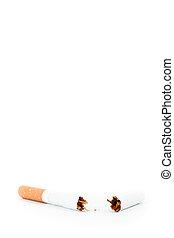 Close up of a cigarette broken