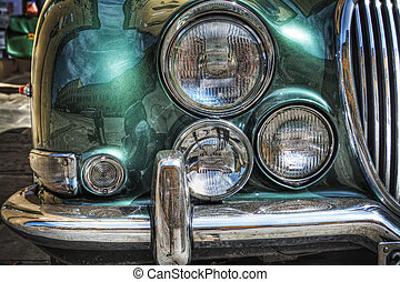 close up of a classic car front view in hdr