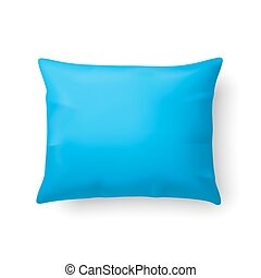 Pillow - Close Up of a Classic Cyan Pillow Isolated on White...