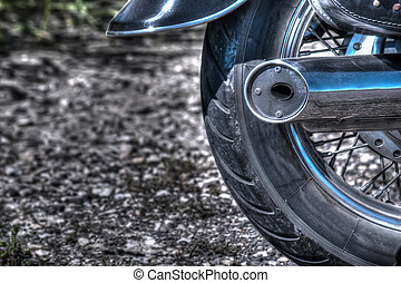 close up of a classic motorcycle rear wheel in hdr