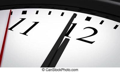 Close-up of a clock striking twelve