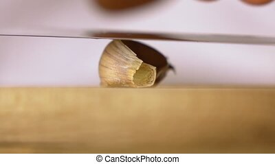 Close up of a clove of garlic being crushed on a wooden...