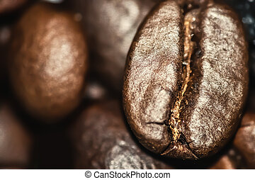 Close up of a coffee bean - Extreme close up of a coffee ...