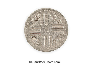 Close-up of a colombian coin isolated, clipping path.