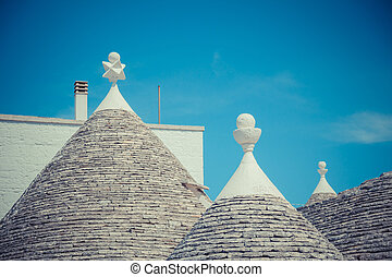 Close up of a conical roofs of a Trulli houses