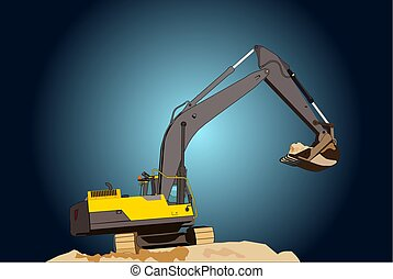 Close-up of a construction site excavator - A large...
