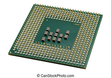 Close up of a CPU processor isolated on white. Large depth of field.