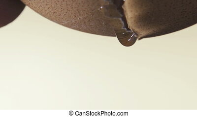 Close up of a cracked fresh eggshell dripping egg white...