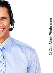 Close-up of a customer service agent with headset on