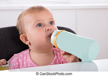 Baby Girl Drinking Water From Bottle
