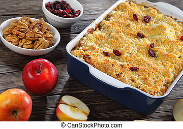 close-up of a delicious apple crumble