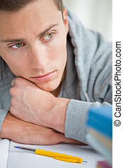 Close-up of a depressed student