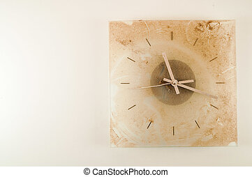 Close-up of a dirty clock