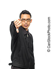 close-up of a disappointed young business man showing thumb down sign, isolated on white