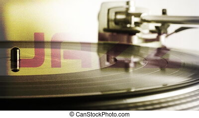 Close-up of a dj record player