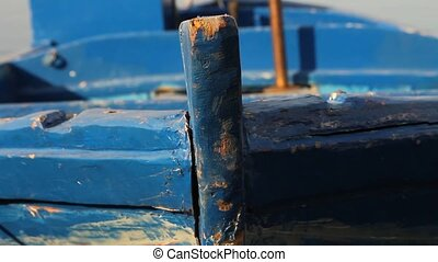 Close up of a docked fishing boat