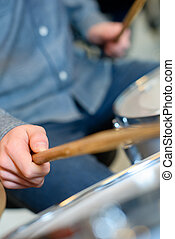 Close-up of a drummer